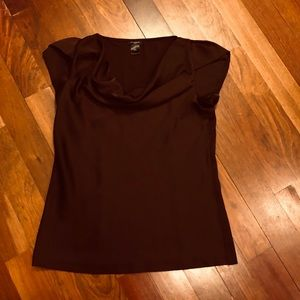 Ann Taylor burgundy wine cowl neck blouse